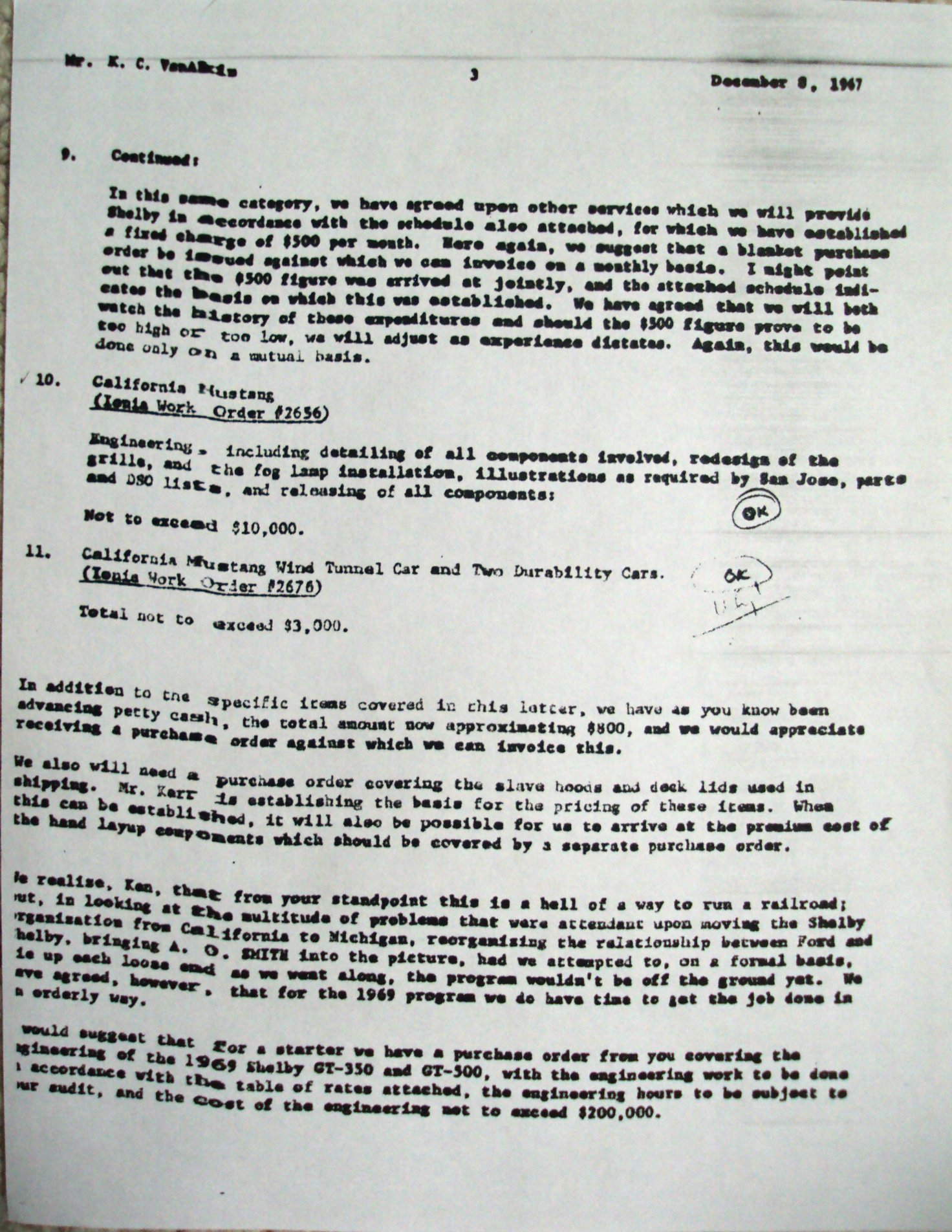 Shelby Gt  Convertible  Letter From AO Smith To Ford