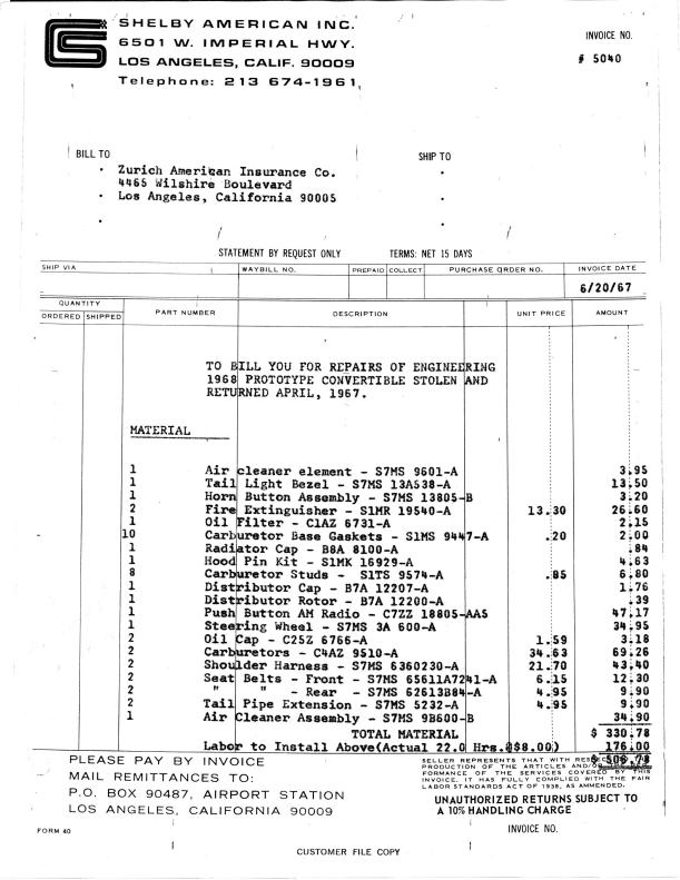 Shelby GT Convertible The Worlds Rarest Mustang Theft - Mustang gt invoice
